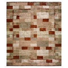 Doris Leslie Blau Collection Geometric Dune Design Handmade Silk Modern Rug