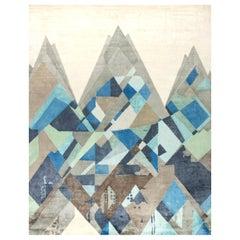 Doris Leslie Blau Collection Geometric Everest Rug in White, Beige, Blue & Gray