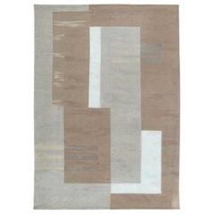 Doris Leslie Blau Collection Geometric Flat-Weave Wool Rug in Beige and White