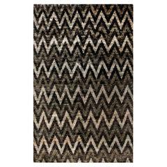 Doris Leslie Blau Collection Geometric Gray and Black Zigzag Hemp Rug