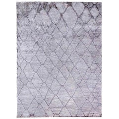 Doris Leslie Blau Collection Geometric Silver Gray Handmade Silk Rug