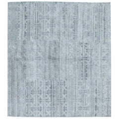 Doris Leslie Blau Collection Geometric Terra Blue and Gray Rug in Natural Wool