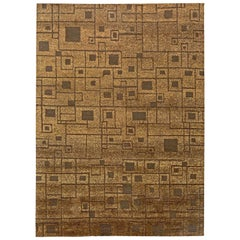 Doris Leslie Blau Collection Geometric Yellow and Brown Handmade Hemp Rug