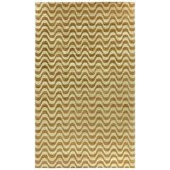 Doris Leslie Blau Collection Gold Waves Design Handmade Wool and Silk Rug