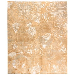 Doris Leslie Blau Collection Golden Beige and Gray Handmade Wool and Silk Rug