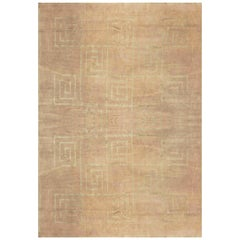 Doris Leslie Blau Collection Greek Key Geometric Beige and Gray, Wool & Silk Rug
