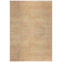 Doris Leslie Blau Collection Greek Key Geometric Beige and Gray, Wool & Silk Rug