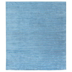 Doris Leslie Blau Collection Hand Tufted Rug in Blue and White Stripes