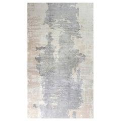 Doris Leslie Blau Collection Handmade Silk Rug in Beige and Grey