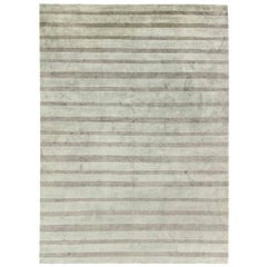 Doris Leslie Blau Collection Handmade Wool and Silk Custom Rug in Gray Stripes