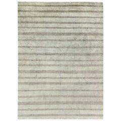 Doris Leslie Blau Collection Handmade Wool and Silk Custom Rug in Gray Stripes