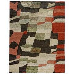 Doris Leslie Blau Collection Harlem Handmade Silk Rug in Black, Red and Ivory
