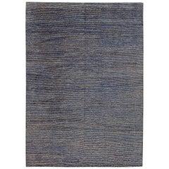Doris Leslie Blau Collection Hemp and Silk Rug in Indigo and Sky Blue Stripes