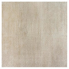 Doris Leslie Blau Collection High Low Modern Beige Handmade Wool Rug