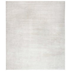 Doris Leslie Blau Collection High-quality Contemporary Solid White, Beige Rug