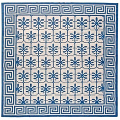 Doris Leslie Blau Collection Indian Dhurrie Blue and White Handmade Cotton Rug