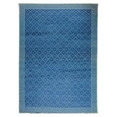 Doris Leslie Blau Collection Indian Dhurrie Deep Blue Flat-Weave Cotton Rug
