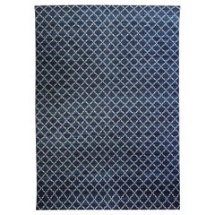 Doris Leslie Blau Collection Indian Dhurrie Deep Blue, White Handmade Cotton Rug