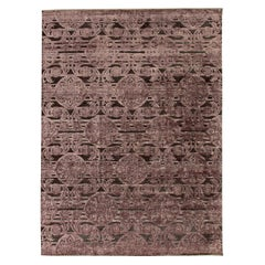 Doris Leslie Blau Collection Indian Lilac and Plum Handwoven Silk and Wool Rug
