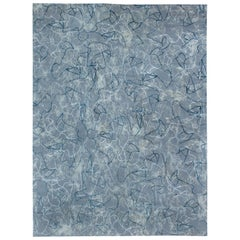 Doris Leslie Blau Collection Ink Ondulations Art Deco Inspired Blue Wool Rug