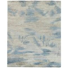 Doris Leslie Blau Collection Lake Handmade Wool Rug in Blue, Gray and White
