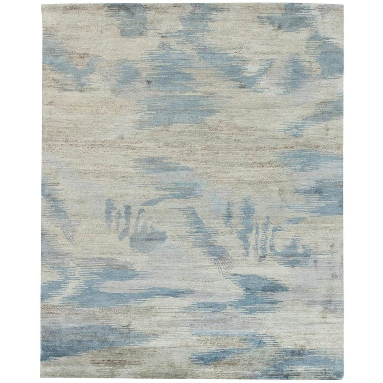 Doris Leslie Blau Collection Lake Handmade Wool Rug in Blue, Gray and White For Sale