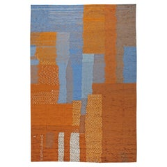 Doris Leslie Blau Collection Large Abstract Moroccan Style Blue Orange Wool Rug