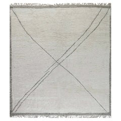 Doris Leslie Blau Collection Large Tribal Style Moroccan Rug in White & Charcoal