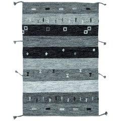 Doris Leslie Blau Collection Light and Dark Gray Flat-Weave Wool Rug