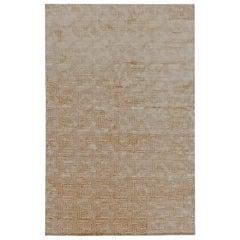 Doris Leslie Blau Collection Maze Design Beige and Gold Hand Knotted Wool Rug