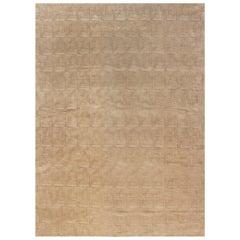 Doris Leslie Blau Collection Maze Design Geometric Beige Wool and Silk Rug