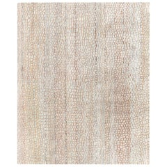 Doris Leslie Blau Collection Modern Abstract Camel and White Wool Rug