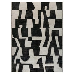 Doris Leslie Blau Collection Modern Abstract Rug in Beige and Black