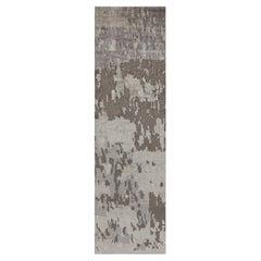 Doris Leslie Blau Collection Modern Abstract Silk, Beige, Brown, Purple Runner