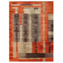 Doris Leslie Blau Collection Modern Alfonsina-Rustic Handmade Wool & Silk Rug