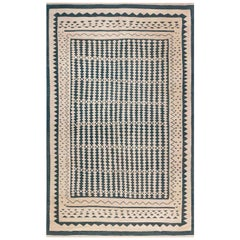 Doris Leslie Blau Collection Modern Beige and Dark Blue Flat-Weave Rug