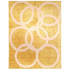 Doris Leslie Blau Collection Modern Beige and Gold Quantum Circles Rug