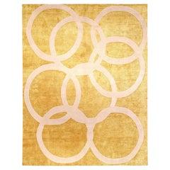 Doris Leslie Blau Collection Modern Beige and Gold Quantum Circles Rug