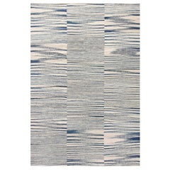 Doris Leslie Blau Collection Modern Blue and White Striped Flat-weave Wool Rug