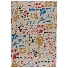 Doris Leslie Blau Collection Modern Bold White, Red, Yellow, Black and Blue Rug