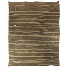 Doris Leslie Blau Collection Modern Brown Striped Handmade Wool Rug