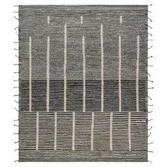 Doris Leslie Blau Collection Modern Cubist Beige, Black Rug