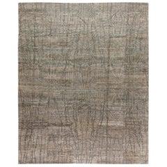 Doris Leslie Blau Collection Modern Eskayel Akimbo Gray and White Wool Rug
