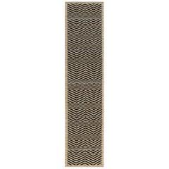 Doris Leslie Blau Collection Modern Flat-Weave Beige and Black Runner
