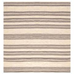 Doris Leslie Blau Collection Modern Flat-Weave Wool Rug in Brown & Beige Stripes
