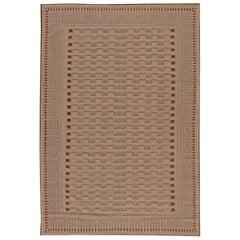 Doris Leslie Blau Collection Modern Geometric Aubusson Style Beige Wool Rug