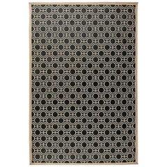 Doris Leslie Blau Collection Modern Geometric Design Rug in White and Black