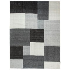 Doris Leslie Blau Collection Modern Geometric Gray, White and Black Carpet