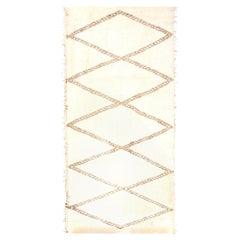 Doris Leslie Blau Collection Modern Moroccan Beige and Brown Handmade Wool Rug