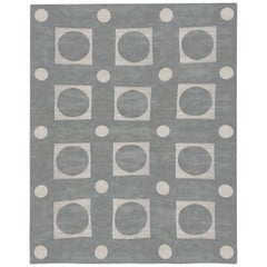 Doris Leslie Blau Collection Modern Oversized Geometric Gray and White Silk Rug